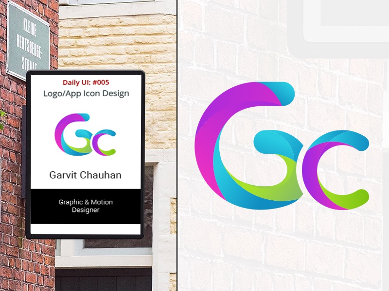 gc letter type logo design by garvit chauhan dribbble dribbble