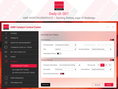 AMD RADEON GRAPHICS – Gaming Setting Page UI Redesign