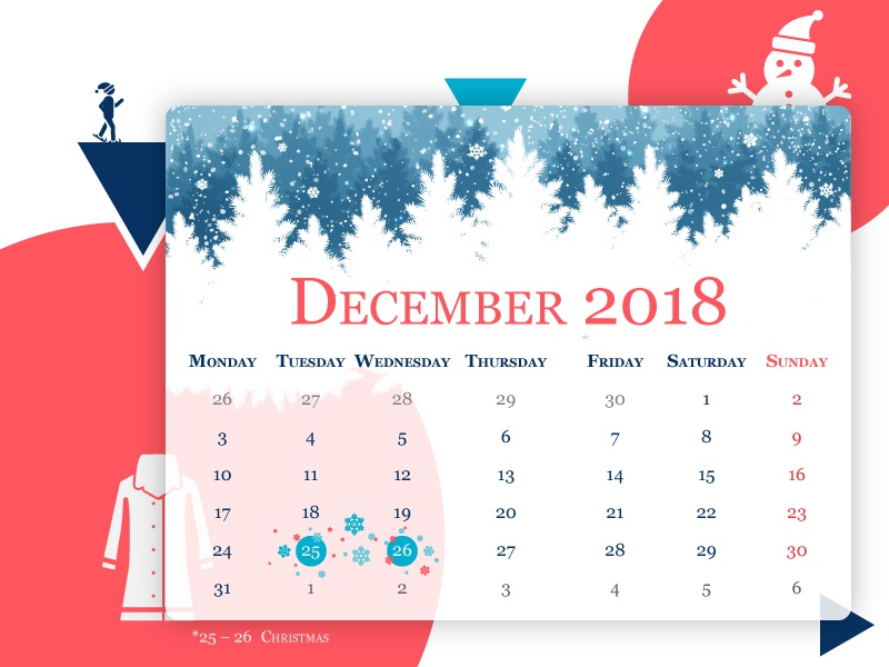 December 2018 Calender color branding vector typography illustrator minimal icon grid layout designer self-taught graphic photoshop graphic design design