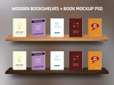 Wooden Bookshelves Book Mockup PSD By Ugur Yksel