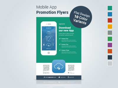 mobile app promotion flyers flat design by ugur yüksel dribbble