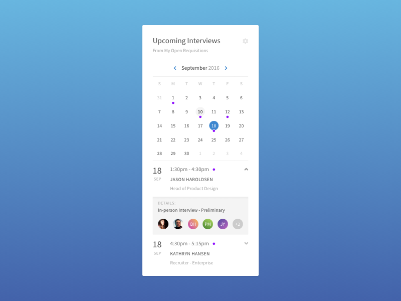 Interview Calendar Widget by Cameron E Stewart | Dribbble | Dribbble