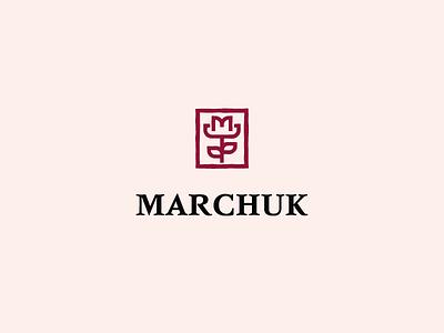 MARCHUK line flowers flower idea design concept brand art logos symbol logo