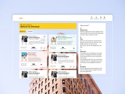 Voting page - Coloc Housing vote rental app real estate web app web ux ui design web design ui design