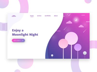 Website homepage Ui Design | Moonlight Night Concept