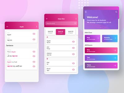 School Vocabulary Apps User Interface Design - Mobile App