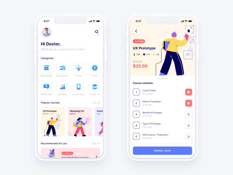 #Exploration - Online Course App figma ios icon e-learning education online course light ux ui mobile app design apps design illustration ui design