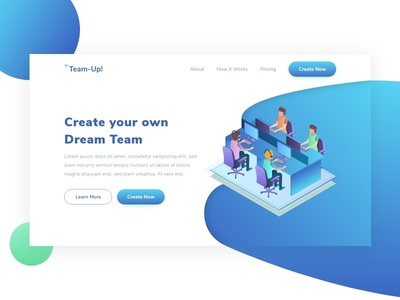 Team-Up! Landing Page syahidina alif user interface adobe xd agency landing page isometric illustration isometric design ui design landing page ui landing page design web design landing page