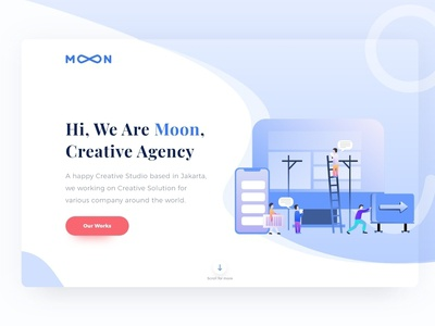 Moon Creative Agency Landing Page agency landing page adobe xd landing page ui web  design illustration user interface ui design landing page concept landing page