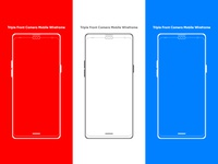 Triple Front Camera Mobile Wireframe