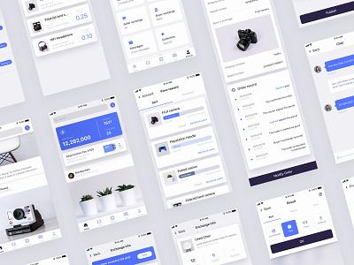 Blockchain app design icon blockchain blue white iphone clean card app mobile ux ui