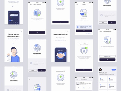 Blockchain app pages with illustration graphic white adobe illustrator vector iphone clean blue blockchain illustration app mobile ux ui