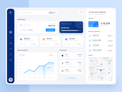 Pocket - Web App chart balance save money transaction fintech wallets finance web app dashboard analytics designer website web clean uxdesign uidesign app ux ui design