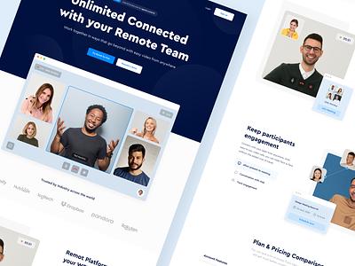 Remot - Landing Page trending conference video call video team landing page website blue clean web design work remote wfh designer web uxdesign uidesign ux ui design