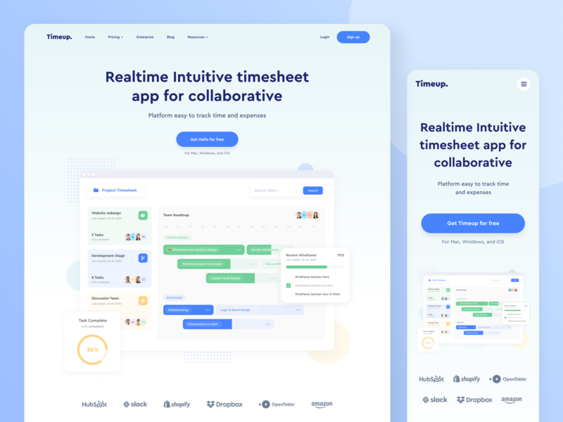 Timeup - Landing Page analytics task list management timesheet project management blue saas design wordpress landing page webdesign website designer web clean uxdesign uidesign app ux ui design