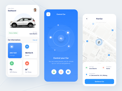 Libom - Mobile App ios app design gps control locations map blue smart automotive smartcar car mobile app design mobile designer clean uxdesign uidesign app ux ui design