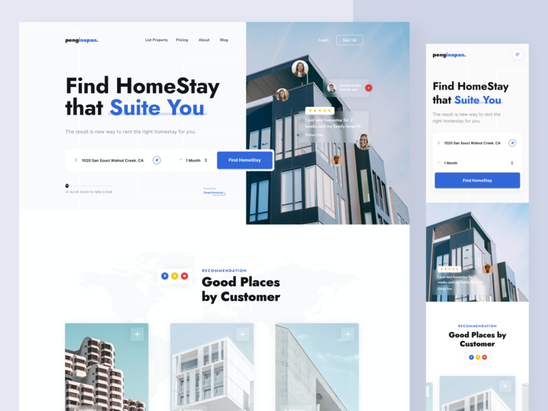 Penginapan - Landing Page booking real estate property web uxdesign uidesign ux ui design blue customer fluent design house designer website design website landing page hotel stay home stay
