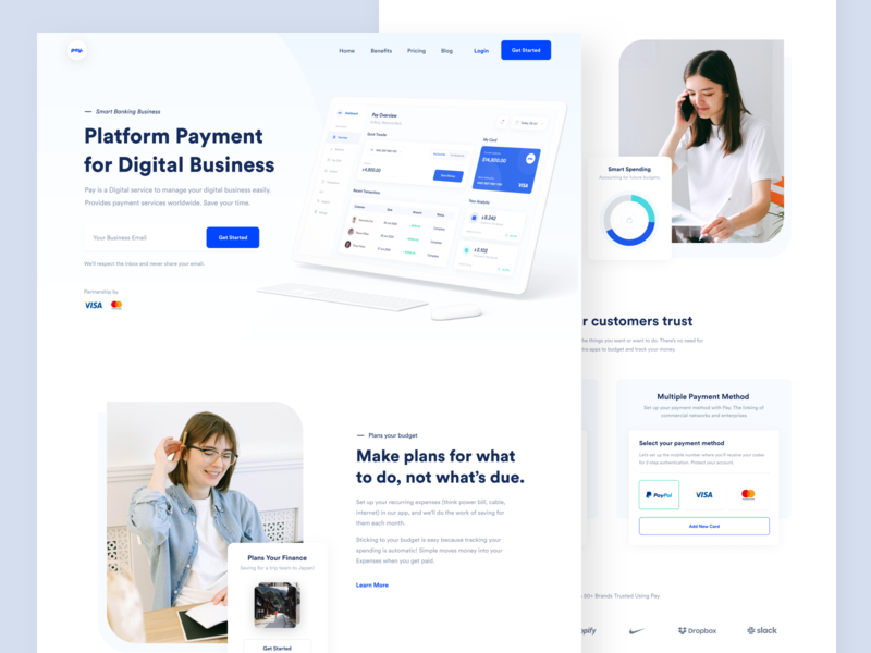 Pay Website designer branding saas payment testimonials landing pages web app dashboard business fintech webdesign landing page website web clean uxdesign uidesign ux ui design