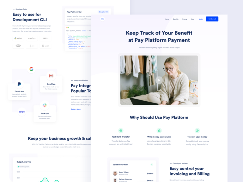 Pay Website - Benefit dribbble interface financial purple budget saas web design payment fintech finance landing page website branding designer clean uxdesign uidesign ux ui design