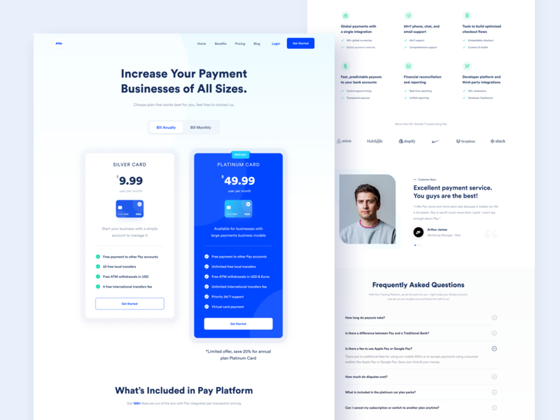Pay Website - Pricing fintech finance plan pricing page price pricing landing page web design website web designer app uxdesign uidesign minimal ux ui design business branding