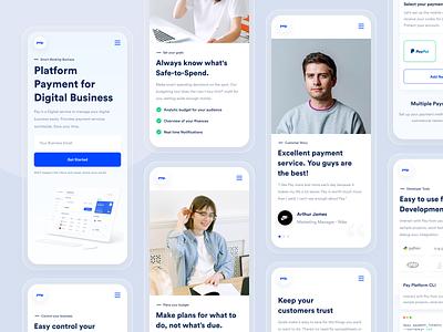 Responsive - Pay Website blue payment saas budget interfaces financial fintech business branding dipa landing page web design responsive website designer uxdesign uidesign ux ui design