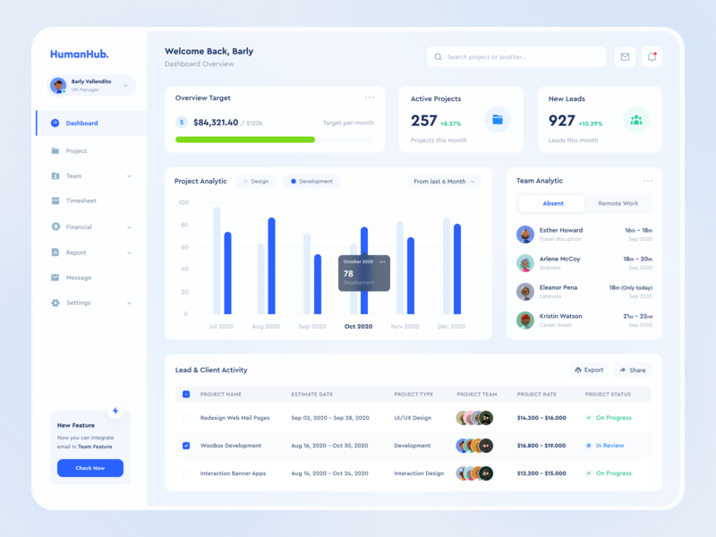 HumanHub - Dashboard & Payroll - Web App management app payroll chart analytics project management bigsur blue web app dashboard hr human resources web design website clean app uxdesign uidesign ux ui design