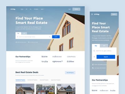 Living - Landing Page product design marketing mortgage property blue agent agency real estate web web design minimal branding website landing page clean uxdesign uidesign ux ui design