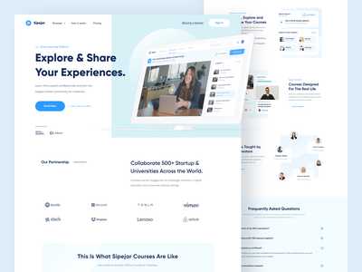 Sipejar - Landing Page designer interface design skill conference education minimal learning platform elearning course landing page web design blue branding website clean uxdesign uidesign ux ui design