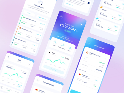 Robo Investment - UI Kit motion interaction design saving bank purple uikit investment invest finance fintech stock android ios mobile bigsur uxdesign uidesign ux ui design
