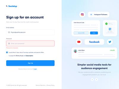 Socialup - Web App analytics marketing social media influencer register signup login dashboad web app web design web website designer app clean uxdesign uidesign ux ui design