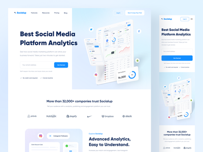 Socialup - Landing Page designer user interface marketing influencer responsive design minimal clean analytic social media responsive uxdesign blue web web design landing page website uidesign ux ui design