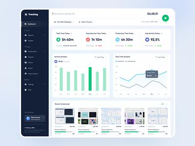 Tracking - Web App report analytic dashboard web app website app tracking hour time screencast chart web design web designer clean uxdesign uidesign ux ui design