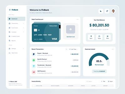 Finbank - Web App payment wallet green money save bank fintech finance web app dashboard web design website web designer clean uxdesign uidesign ux ui design