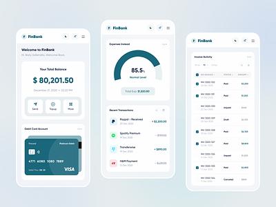 Finbank - Responsive green mobile wallet saving money finance fintech dashboad web app responsive web design web website designer clean uxdesign uidesign ux ui design