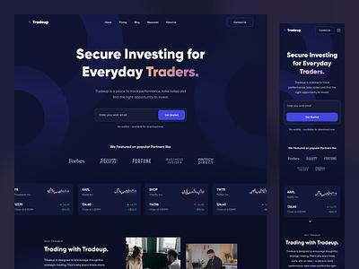 Tradeup - Landing Page landing page responsive web web design chart uxdesign uidesign ux ui design purple dark stock finance investment invest money fintech trading trade