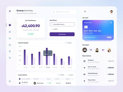 Saveup - Web App transaction card invoice payment purple wallet saving money fintech finance app web design web website clean uxdesign uidesign ux ui design