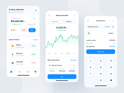 Coinup - Mobile App money wallet fintech investment finance cryptocurrency crypto stock blue app designer clean uxdesign uidesign ux ui design mobile app mobile ui