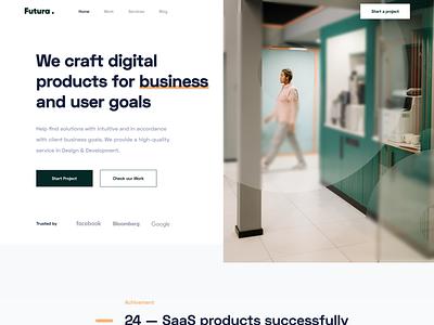 Futura - Landing Page business portfolio page green digital agency startup company software company agency landing page web design web website app designer clean uxdesign uidesign ux ui design
