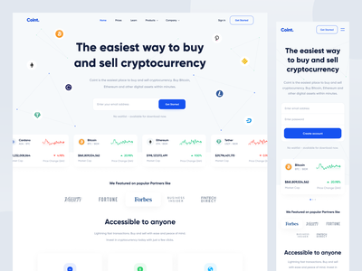 Coint - Landing Page responsive bitcoin stock cryptocurrency crypto investment invest trading trade web web design landing page website designer clean uxdesign uidesign ux ui design