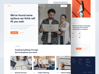 Raisup - Landing Page construction residential web app interface orange interior architecture constructor building landing page web web design website designer clean uxdesign uidesign ux ui design
