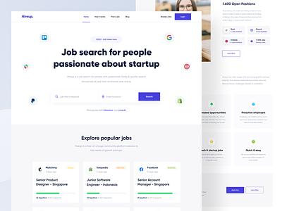 Hireup - Landing Page job list minimal purple job site startup job seeker hiring job landing page web design app web website designer clean uxdesign uidesign ux ui design