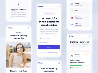 Hireup - Responsive ios android mobile purple hiring job seeker job finder job landing page app web website designer clean uxdesign uidesign ui ux design responsive