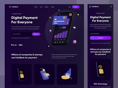 CeloBank - Landing Page clean bank 3d cash money dark payment wallet finance fintech landing page web design web website designer uxdesign uidesign ux ui design