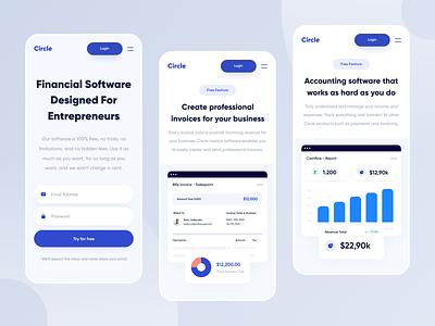 Circle - Responsive fintech accounting financial finance mobile app android ios mobile responsive web design app web website designer clean uxdesign uidesign ux ui design