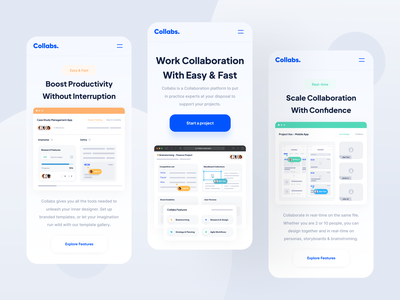 Collabs - Responsive dipa responsive design landing page remote collaboration mobile services saas responsive web design app web website designer clean uxdesign uidesign ux ui design