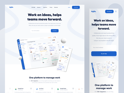 Agile • Landing Page blue roadmap kanban agile integration trello project management landing page responsive dashboard web app web website designer clean uxdesign uidesign ui ux design