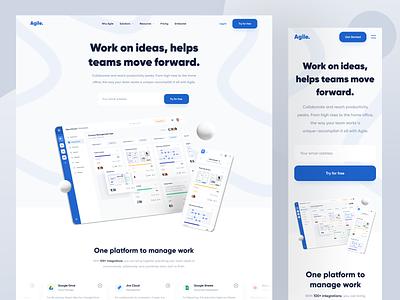 Agile • Landing Page blue roadmap kanban agile integration trello project management landing page responsive dashboard web app web website designer clean uxdesign uidesign ui ux design