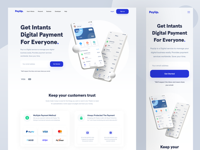PayUp - Landing Page business money ewallet payment bank fintech finance wallet responsive landing page web design web website designer clean uxdesign uidesign ux ui design