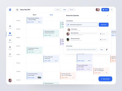 Zeros Calendar - Web App popular interaction report meeting member share designer branding management work sharing blue collaboration calendar clean uxdesign uidesign ux design ui