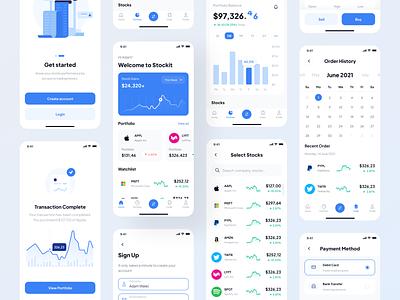 Stockit - UI Kit ui8 branding uikit mobile app android analytic money fintech finance stock app ios mobile designer clean uxdesign uidesign ux design ui